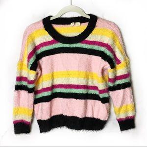 Moth | Anthropologie Candy Stripe Fuzzy Sweater